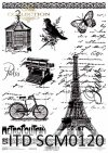 Papier scrapbooking Vintage, Wieża Eiffla, rower, stare pismo, ptak, motyl*Vintage scrapbooking paper, Eiffel tower, bicycle, old letter, bird, butterfly