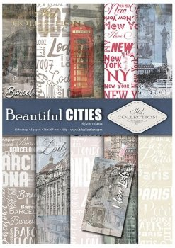 Set von Papieren für Scrapbooking SCRAP-044 ''Beautiful Cities''