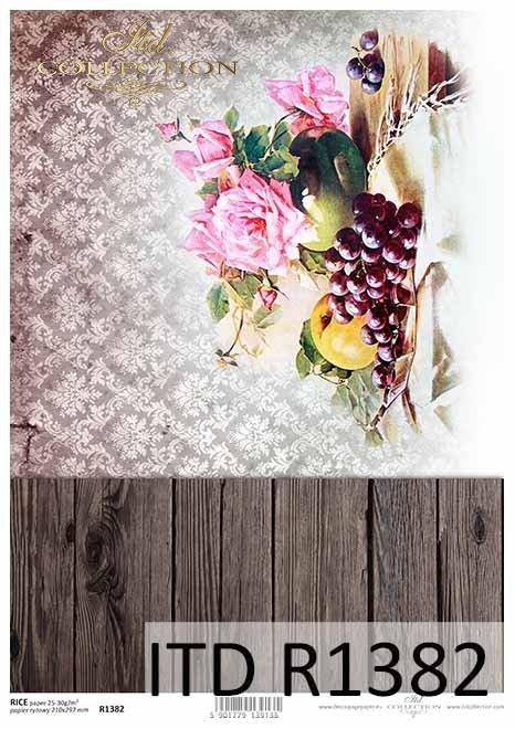 Papier decoupage deski, tapeta, kwiaty, owoce, martwa natura*Decoupage paper boards, wallpaper, flowers, fruits, still life