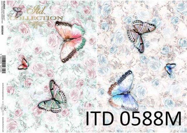 papier decoupage motyle, kwiaty, róże*decoupage paper butterflies, flowers, roses