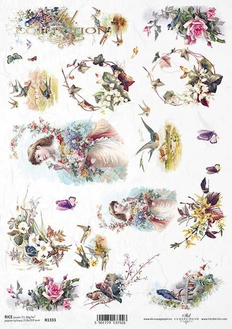 papel de arroz decoupage pájaros, golondrinas, ramos de flores*Reispapier Decoupage Vögel, Schwalben, Blumensträuße*рисовая бумага декупаж птицы, ласточки, букеты