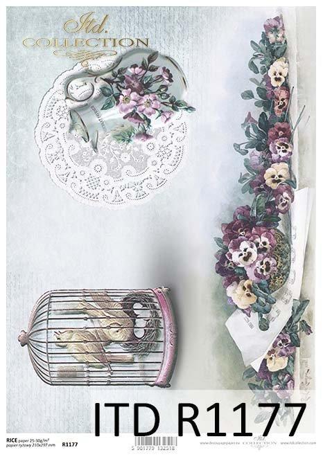 papier decoupage klatka dla ptaków, dzbanek, Bratki*Paper decoupage bird cage, jug, pansies