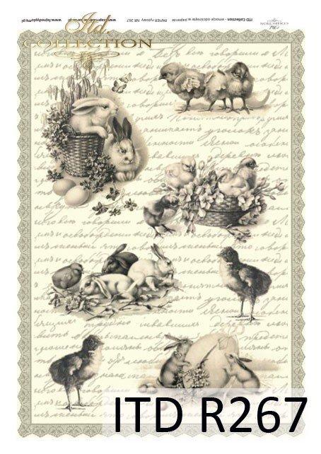 Wielkanoc, wiosna, retro, jajka, kurczaki, zające, R267