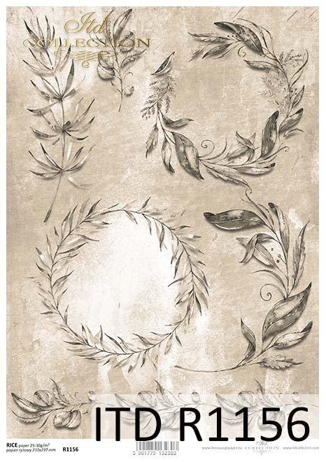 papier decoupage gałązki, listki*Paper decoupage twigs, leaves