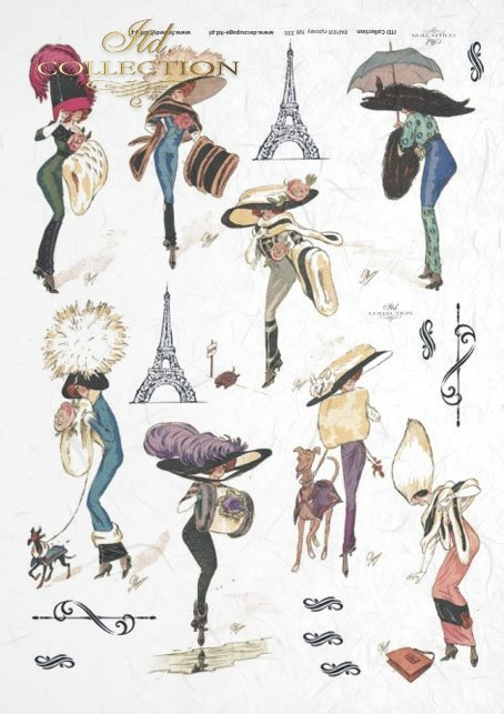 Eiffel Tower, fashion, Paris, old France, vintage, hat, joke, flowers,