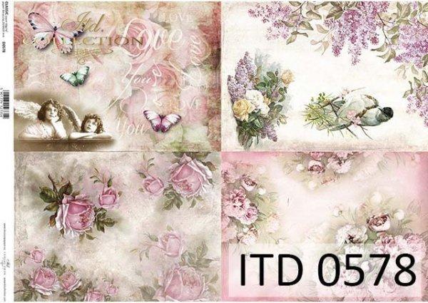 papier do decoupage kwiaty, ptaki, anioły, motyle*Decoupage Papier Blumen, Vögel, Engel, butterflies