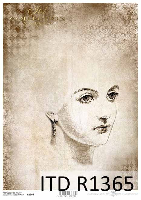 Papier decoupage w stylu Vintage, szkic-twarz kobiety*Decoupage paper in Vintage style, sketch-face of a woman