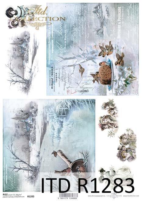 Papier decoupage Vintage, zimowe widoczki, ptaszki*Vintage paper decoupage, winter visions, birds