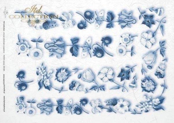 rýžový papír decoupage - květiny, motýli, jahody*papel de arroz decoupage - flores, mariposas, las fresas*Reispapier Decoupage - Blumen, Schmetterlinge, Erdbeeren
