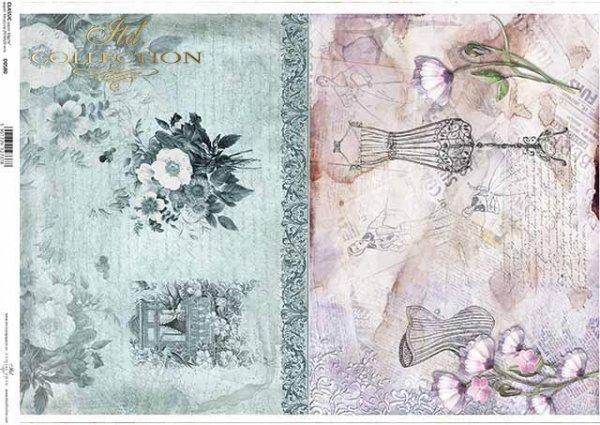 Papier Decoupage Blumen, Dekor, Fenster in Blumen, Schaufensterpuppe, Korsett*flores de papel decoupage, decoración, ventana en flores, maniquí, corsé*бумага декупаж цветы, декор, окно в цветы, манекен, корсет