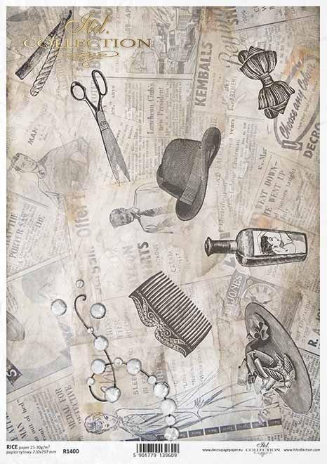 Vintage-Decoupage-Papier, alte Zeitung, Friseurzubehör*papel de decoupage vintage, periódico viejo, accesorios de peluquería*старинная бумага для декупажа, старая газета, парикмахерские принадлежности