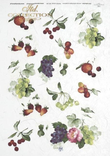 owoce, liście, truskawki, wiśnie, czereśnie, winogrona, winogrono, R100