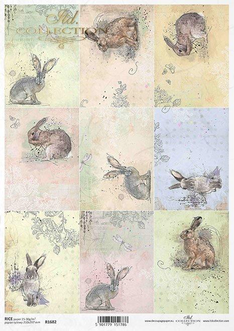 Pastele, tagi, zające, króliki, Wielkanoc, małe obrazki*Pastels, tags, hares, rabbits, Easter, little pictures
