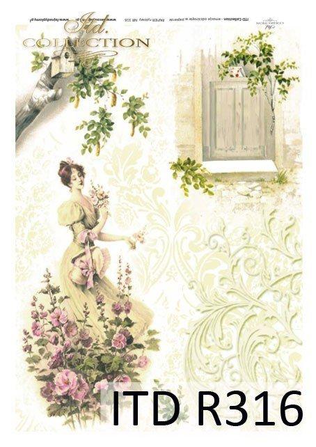 wiosna, kwiat, kwiaty, malwa, malwy, budka dla ptaków, kobieta, sukienka, retro