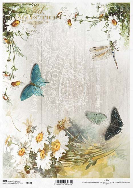 Vintage-Papier decoupage, Blumen, Schmetterlinge*Vintage papel decoupage, flores, mariposas