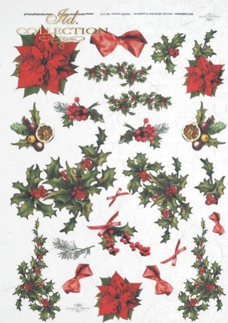 papier-ryżowy-decoupage-Boże-Narodzenie-Gwiazda-Betlejemska-ostrokrzew-świąteczny-R0173
