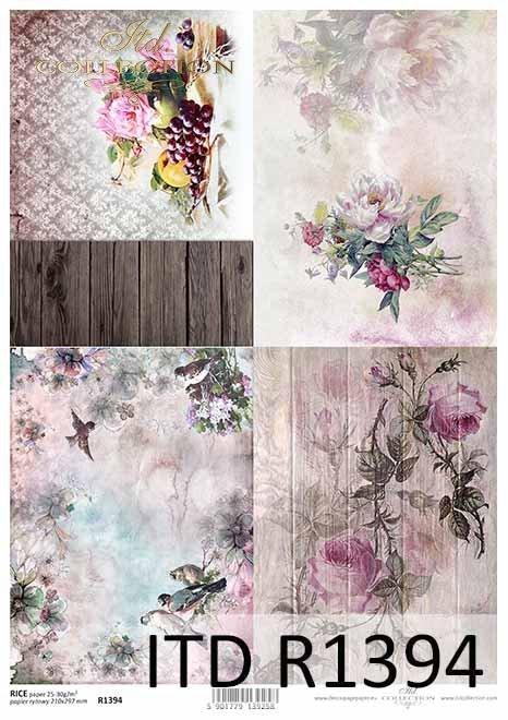 papier decoupage kwiaty, róże, peonie, ptaki, owoce*decoupage paper flowers, roses, peonies, birds, fruits