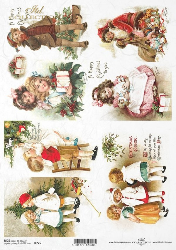 children, Santa Claus, Christmas decorations, Christmas, winter, retro, Christmas tree, R775