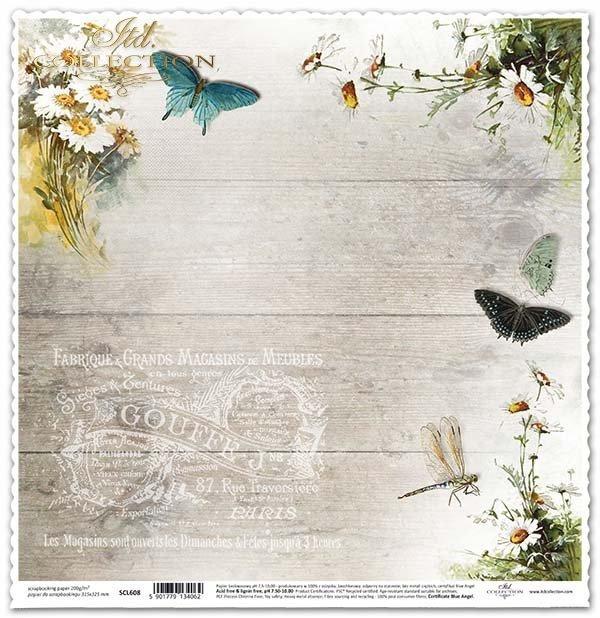 скрапбукинга бумаги ноготки цветы, бабочки, субтитры*álbum de recortes de papel caléndulas flores, mariposas, subtítulos*