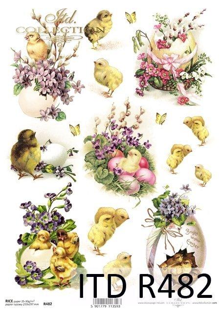 Papier decoupage ryżowy, świąteczny, Wielkanoc kurczaki * Easter * R0482