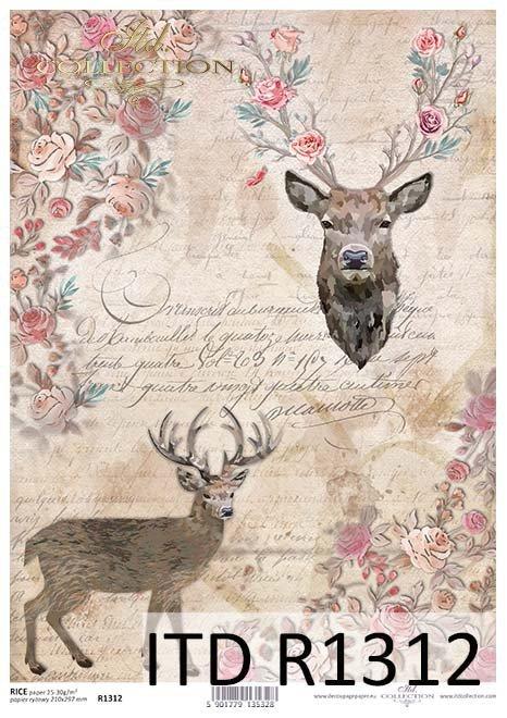 papier decoupage głowy, poroża jelenia*paper decoupage head, antlers deer*cabezas, cuernos de venado*головы, оленьи рога*Köpfe, Hirschgeweihe