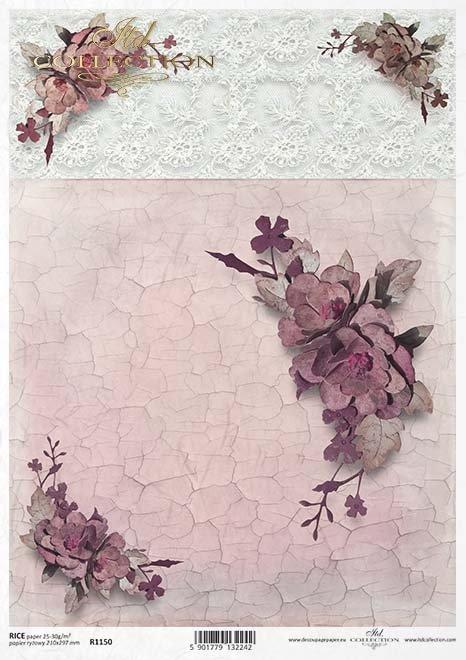 flores de papel decoupage, grietas, encajes*decoupage papírové květiny, praskání, krajky*decoupage Papierblumen , Risse, Spitze