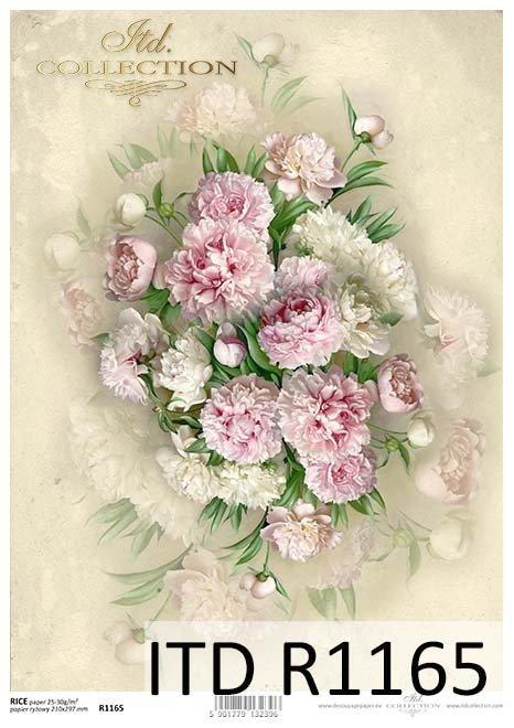 papier decoupage kwiaty, Peonie*Paper decoupage flowers, Peonie