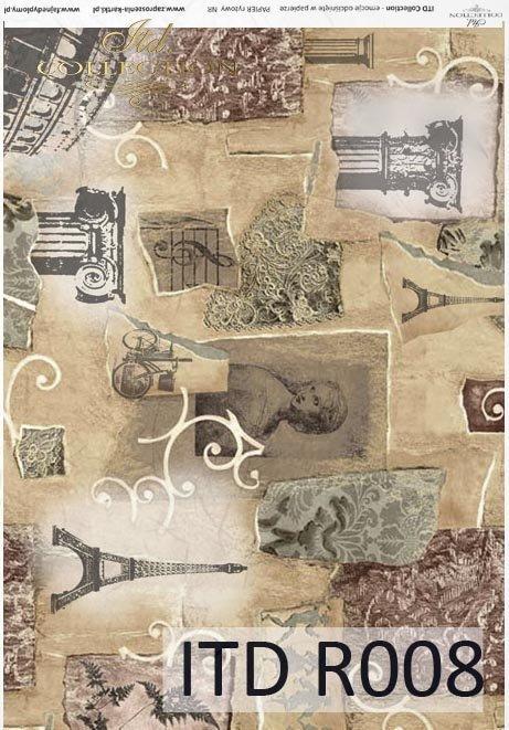 papier ryżowy decoupage - Wieża Eiffla, Paryż, Vintage*rice paper decoupage - Eiffel Tower, Paris, Vintage