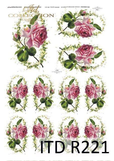 Papier ryżowy decoupage, kwiaty róża mała, owal, pąki róż, R0221