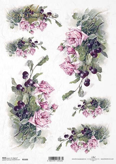 Decoupage Papierblumen -Reispapier Blumen*Decoupage papírové květiny-rýžového papíru květiny*Decoupage de papel de arroz flores-flores de papel