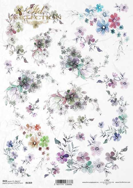 papel de arroz, flores pequeñas, decoraciones, líneas*Reispapier, kleine Blumen, Dekore, Linien*рисовая бумага, маленькие цветы, декоры, линии