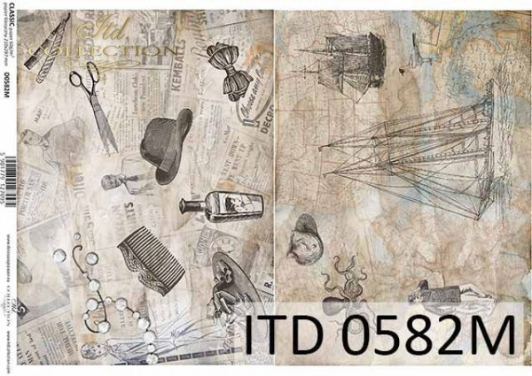 papier decoupage Vintage, fryzjerskie akcesoria, mapa, motywy marynistyczne*vintage decoupage paper, hairdressing accessories, map, nautical motifs