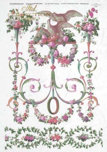papier ryżowy decoupage, retro, vintage, kwiaty, kwiatki, dekoracje, dekor, dekory, onament, ornamenty, R019