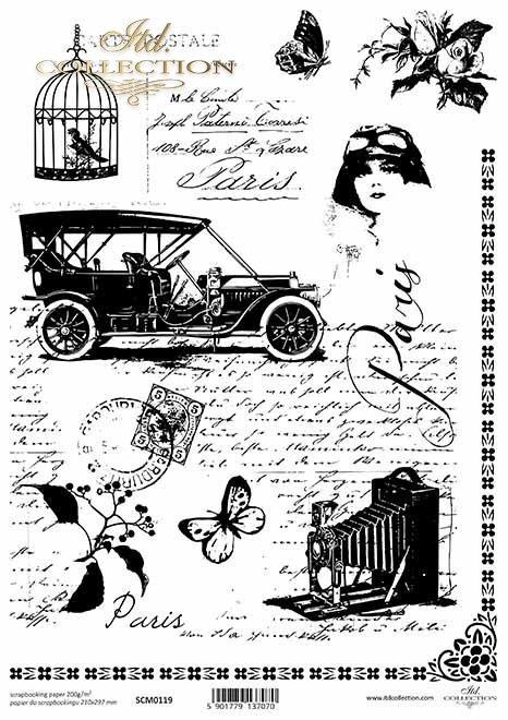Papel scrapbooking vintage, vieja carta, carro, jaula*Scrapbooking-Papier der Weinlese, alter Buchstabe, Auto, Birdcage*Винтажная бумага для скрапбукинга, старое письмо, автомобиль, птица