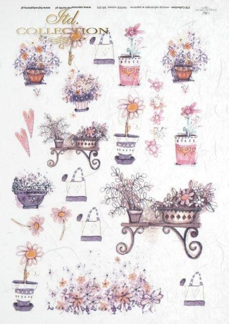 kwiat, kwiaty, kwiatki, doniczka, doniczki, ławka, ławki, ławeczka, konewka, konewkia, Dorota Marciniak, R091