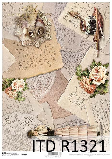 Papier decoupage Vintage, listy, kałamarz, róże, dama z wachlarzem*Vintage decoupage paper, letters, inkwell, roses, lady with fan