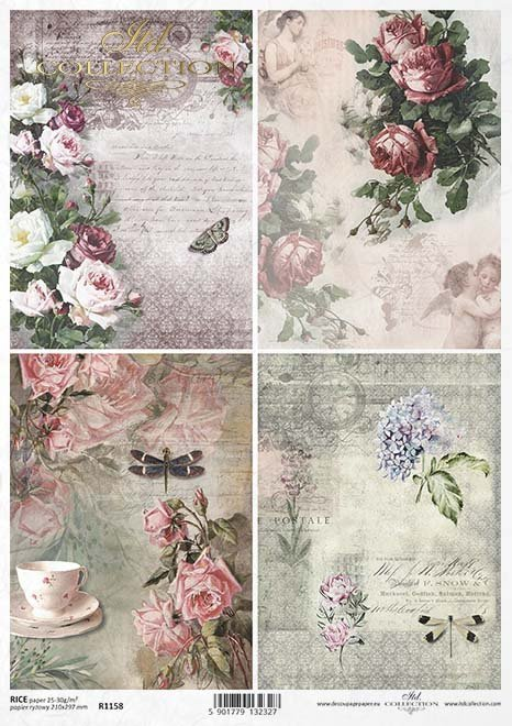 Vintage-Papier decoupage, Blumen, Rosen, Schmetterlinge, Libellen*Klasické papírové Decoupage, květiny, růže, motýli, vážky*Vintage decoupage paper, flowers, roses, butterflies, dragonflies