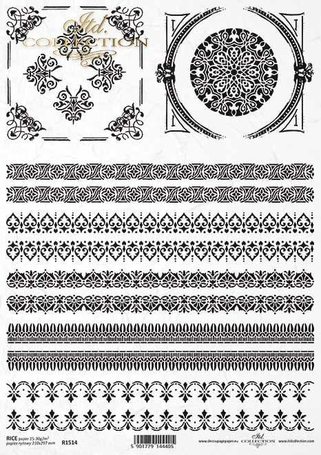 Papel de arroz vintage, patrones decorativos, marcos*dekorative Muster, Rahmen*Винтажная рисовая бумага, декоративные узоры, рамки