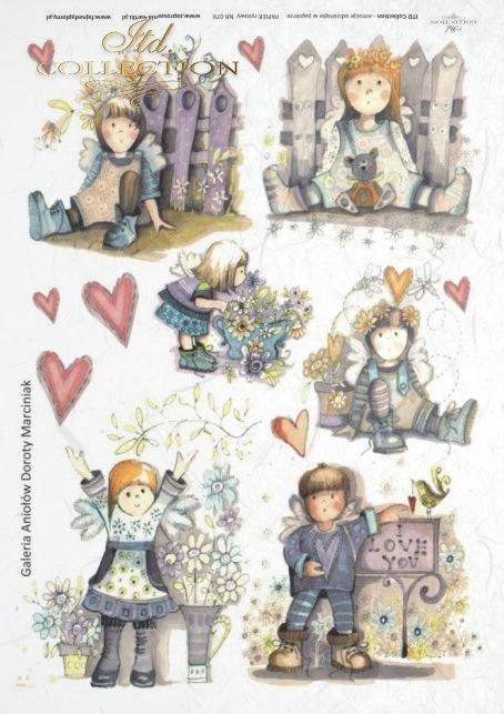 Kids, bench, Valentine's Day, heart, hearts, tree, angel, angels, flower, flowers, bird, birds, teddy bear, teddy bears, Dorota Marciniak, R078