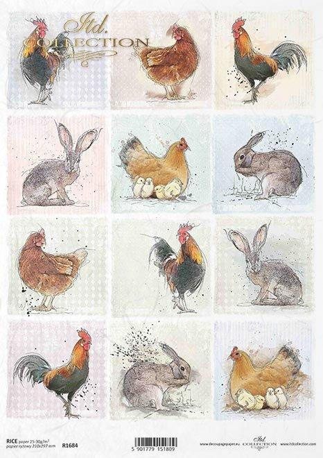 Pastele, tagi, małe obrazki, kogut, kura, kurczaki, króliki, zające, wokół farmy*Pastels, tags, small pictures, cock, chicken, chicken, rabbit, hare, around the farm