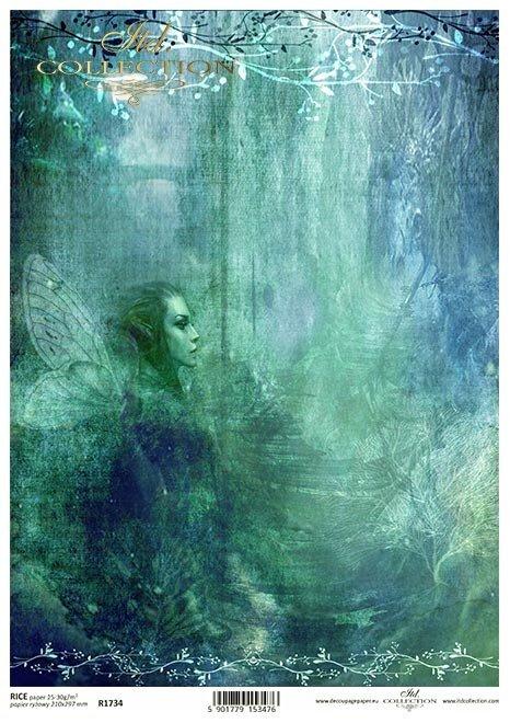 Seria Sekrety - Dolina Elfów. Turkusowo-granatowe tło, Elf, Elfie skrzydła , kładka, drzewa, schody