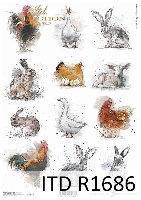 Pastel colours, tags, 12 small pictures, cock, chicken, rabbit, hare, chicken, Easter, around the farm