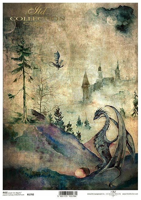 Nieodkryty magiczny świat - smok, zamek, jajo. pełnia, łąka, las, świat baśni, bajki o smokach,