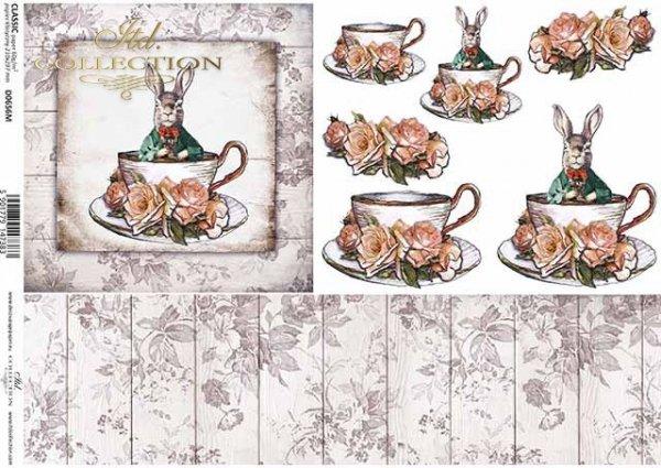 Pascua, vendimia, liebre en un abrigo, copa, tablas, flores, rosas*Ostern, Vintage, Hase im Mantel, Tasse, Bretter, Blumen, Rosen*Пасха, винтаж, заяц в плаще, чашка, доски, цветы, розы