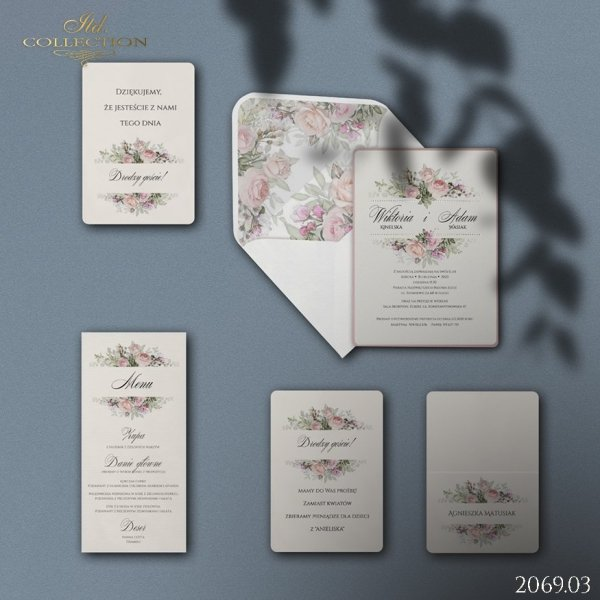 Zaproszenie 2069 * Zaproszenia ślubne * menu * winietka * koperta - wersja 3