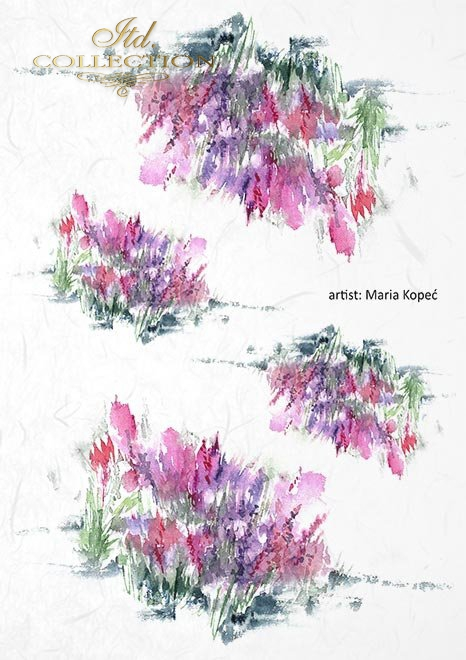 Zestaw kreatywny na papierze ryżowym - Piękne kwiaty * Creative set on rice paper - Beautiful flowers