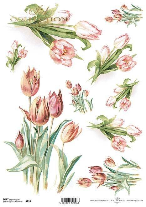 tulipanes de papel decoupage*decoupage papír tulipány*Decoupage Papier Tulpen