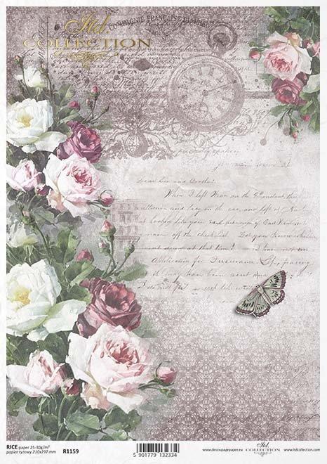 Rice paper r1159 paper for decoupage rice vintage flowers vintage papier decoupage blumen rosen schmetterlingeklasick paprov decoupage kvtiny mightylinksfo