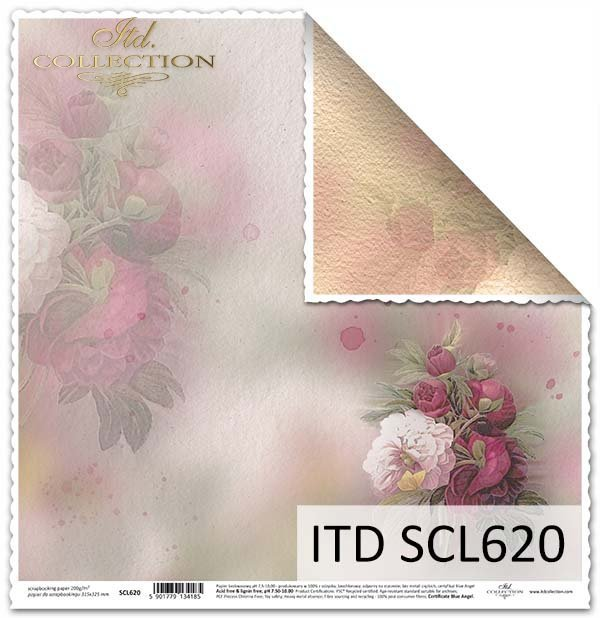 papier do scrapbookingu, kwiaty, Peonie*Paper for scrapbooking, flowers, Peonie