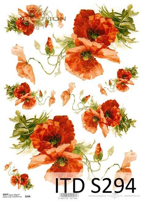 papier decoupage kwiaty*decoupage paper flowers
